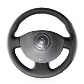 For Renault Megane 2 2003-2008 Scenic 2 2003-2009 Kangoo 2008-2012, Customize Black Leather Wrap Steering Wheel Cover