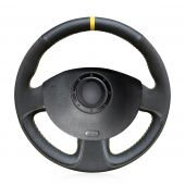 For Renault Megane 2 2003-2008 Scenic 2 2003-2009 Kangoo 2008-2012, Genuine Leather Black Suede With Yellow Marker Steering Wheel Cover
