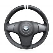 For Chevrolet Niva 2009-2017 (3-Spoke), Customize Genuine Leather Suede Stitch Protector Steering Wheel Cover