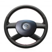 For Volkswagen VW Polo 2003 2004 2005 2006, Customize Black Leather Hand Stitched Steering Wheel Cover