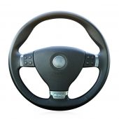 For Volkswagen VW Passat R36, Black Leather Sides Perforated Hand Sewn Wrap Steering Wheel Cover