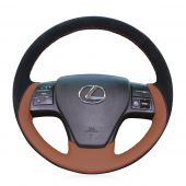For Lexus RX350 2009 RX270 2011, Black Suede Brown Perforated Leather Sewing Steering Wheel Cover