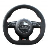 For Audi S3 2014 2015 2016 2017 S5 2012 2013 2014 2015 2016, Black Suede Hand Sew Steering Wheel Wrap Cover