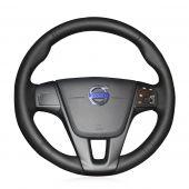 For Volvo S60 V40 V60 V70 2014 XC60, Custom Black Leather Hand Sewing Steering Wheel Wrap Cover