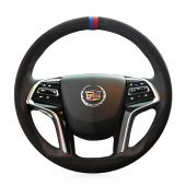 For Cadillac SRX 2013 2014 2015 XTS 2013-2017, Custom Leather Suede Hand Sewing Protector Steering Wheel Cover