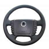 For Ssangyong Rexton Rexton W Rodius, Black Leather Hand Stitched Cover Steering Wheel Skin