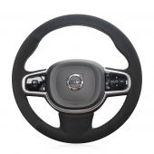 For Volvo XC90 2015 2016 2017, Custom Black Suede Hand Stitched Steering Wheel Wrap Cover