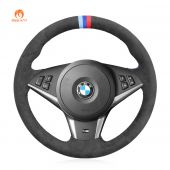 MEWANT Hand Stitch Dark Grey Alcantara Car Steering Wheel Cover for BMW M5 E60 E61 (Touring) 2005-2010 / M6 E63 E64 2005-2010