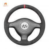 MEWANT Hand Stitch Dark Gray Alcantara Car Steering Wheel Cover for Volkswagen VW Golf 4 Passat B5 Polo Bora Sharan for Seat Leon MK1 (1M) for Skoda Fabia 1 (6Y)