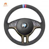 MEWANT Hand Stitch Dark Grey Alcantara Material Car Steering Wheel Cover for BMW E46 318i 325i 330ci / E39 / X5 E53 / Z3 E36/7 E36/8