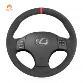 MEWANT Hand Stitch Dark Gray Alcantara Car Steering Wheel Cover for Lexus IS IS250 IS250C IS300 IS300C IS350 IS350C F SPORT 2005-2011
