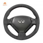 MEWANT Hand Stitch Dark Grey Alcantara Car Steering Wheel Cover for Infiniti G25 G35 G37 2007-2013 EX35 EX37 2008-2013 Q40 Q60 2014 2015 QX50 2014-2018