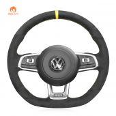 MEWANT Hand Stitch Dark Gray Alcantara Car Steering Wheel Cover for Volkswagen VW Golf 7 GTI Scirocco Up! Arteon Tiguan Allspace Touran (R-Line) T-Roc (R-Line) Passat (R-Line)