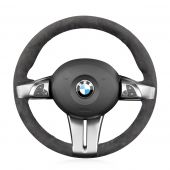 MEWANT Hand Stitch Dark Gray Alcantara Car Steering Wheel Cover for BMW Z4 E85 (Roadster) 2003-2008 / E86 (Coupe) 2005-2008