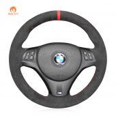 MEWANT Hand Stitch Dark Grey Alcantara Car Steering Wheel Cover for BMW 1 Series E81 E82 E87 E88 2008-2013 / 3 Series E90 E91 E92 E93 2006-2011 / M3 E90 E92 E93 2008-2013