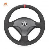 MEWANT Hand Stitch Dark Gray Alcantara Material Car Steering Wheel Cover for Honda S2000 2000-2009 Civic (SI) 2002-2005 Insight 2000-2006 for Acura RSX 2002-2006