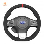 MEWANT  Black Alcantara Dark Grey Alcantara Car Steering Wheel Cover for Subaru WRX (STI) Levorg 2015 2016 2017 2018 2019