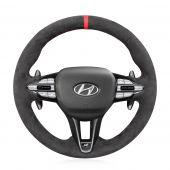 MEWANT Hand Stitch High Quality Dark Grey Alcantara Car Steering Wheel Cover for Hyundai i30 N 2018-2020 / Veloster N 2019-2021