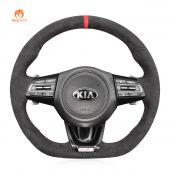 MEWANT Hand Stitch Dark Grey Alcantara Material Car Steering Wheel Cover Braids for Kia Stinger 2017 2018 2019 2020