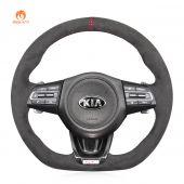 MEWANT Hand Sewing Dark Grey Alcantara with Top Hollow Strip Car Steering Wheel Cover Braids for Kia Stinger 2017 2018 2019 2020