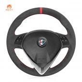 MEWANT Hand Stitch Dark Grey Alcantara Car Steering Wheel Cover for Alfa Romeo Giulietta 2014-2021