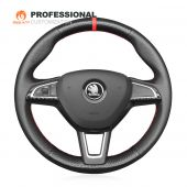 MEWANT Black Artificial Genuine Leather Carbon Fiber Car Steering Wheel Covers for Skoda Citigo Fabia Karoq Roomster Rapid Octavia Superb Yeti Kodiaq