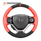 MEWANT Hand Stitch Red Artificial PU Black Suede Car Steering Wheel Cover for Honda Civic 9 2012-2017