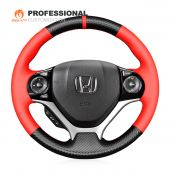 MEWANT Hand Stitch Carbon Fiber Red Artificial PU Black Suede Car Steering Wheel Cover for Honda Civic 9 2012-2017