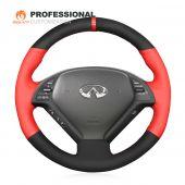 MEWANT Hand Stitch Red Leather Black Suede Carbon Fiber Car Steering Wheel Cover for Infiniti G25 G35 G37 2007-2013 EX35 EX37 2008-2013 Q40 Q60 2014 2015 QX50 2014-2018