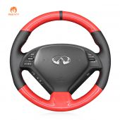 MEWANT Hand Stitch Red Carbon Fiber Black PU Leather Real Genuine Leather Car Steering Wheel Cover for Infiniti G25 G35 G37 2007-2013 EX35 EX37 2008-2013 Q40 Q60 2014 2015 QX50 2014-2018
