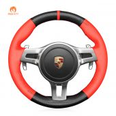 MEWANT Hand Stitch Carbon Fiber Red PU Leather Car Steering Wheel Cover for Porsche 911 (991) 2009-2015 / Boxster (981) 2009-2016 / Cayman (981) 2009-2016 / Cayenne 2010-2014 / Panamera 2013-2016