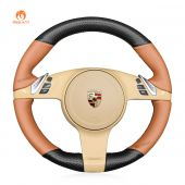 MEWANT Hand Stitch Carbon Fiber Brown PU Leather or Alcantara Car Steering Wheel Cover for Porsche 911 (991) 2009-2015 / Boxster (981) 2009-2016 / Cayman (981) 2009-2016 / Cayenne 2011-2014 / Panamera 2009-2016