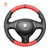 MEWANT Hand Stitch Red Carbon Fiber Black PU Leather Real Genuine Leather Car Steering Wheel Cover for BMW M Sport E46 330i 330Ci / E39 540i 525i 530i / M3 E46 / M5 E39