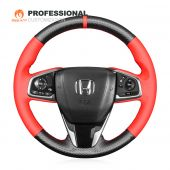 MEWANT Hand Stitch Carbon Fiber Red Leather Car Steering Wheel Cover for Honda Civic 10 2016-2021 CR-V CRV 2017-2021 Clarity 2018-2021