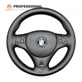 MEWANT Hand Stitch Carbon Fiber Leather Car Steering Wheel Cover for  for BMW M Sport M3 E90 E91 E92 E93 / E87 E81 E82 E88 / X1 E84