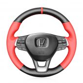 MEWANT Hand Stitch CarbonFiber Red Leather (PU) Car Steering Wheel Cover for Honda Accord 10 2018-2021 / Insight 2019-2021