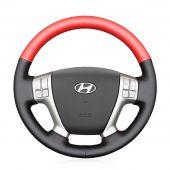 MEWANT Hand Sewing Black Leather Suede Carbon Fiber Car Steering Wheel Cover for Hyundai Veracruz 2007-2012 ix55 2009-2013