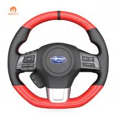 MEWANT Red Carbon Fiber Black PU Leather Real Genuine Leather Suede Car Steering Wheel Cover for Subaru WRX (STI) Levorg 2015 2016 2017 2018 2019
