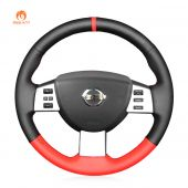 MEWANT Hand Stitch Black Red PU Leather Car Steering Wheel Cover for Nissan Murano 2004-2008 Altima 2005-2006 Maxima 2004-2008 Murano 2003-2007 Quest 2004-2009