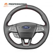 MEWANT Hand Stitch Sewing Black Leather with Hollow Decortion Car Steering Wheel Cover for Ford Focus (RS | ST | ST-Line) 2015-2018 Kuga (ST-Line) 2019 Ecosport (ST-Line) 2017-2020