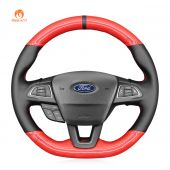 MEWANT Hand Stitch Red Carbon Fiber Black PU Leather Real Genuine Leather Car Steering Wheel Cover for Ford Focus (RS | ST | ST-Line) 2015-2018 Kuga (ST-Line) 2019 Ecosport (ST-Line) 2017-2020