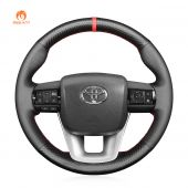 MEWANT Hand Stitch Carbon Fiber Black PU Leather Rea Genuine Leather Car Steering Wheel Cover forToyotaHilux2015-2021/Fortuner2015-2021