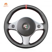 MEWANT Hand Stitch Black PU Leather Real Genuine Leather Carbon Fiber Car Steering Wheel Cover for Alfa Romeo 159 2006-2011