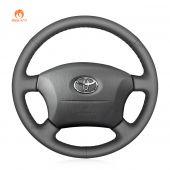 MEWANT Hand Stitch Grey PU Leather Real Genuine Leather Car Steering Wheel Cover for Toyota Land Cruiser 1996-2002 / Land Cruiser Prado 1996-2002
