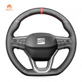 MEWANT Hand Stitch Black Carbon Fiber Leather Car Steering Wheel Cover for Seat Leon 2020-2021 / Ateca 2020-2021 / Tarraco 2020-2021
