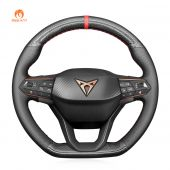 MEWANT Hand Stitch Black  Carbon Fiber Leather Car Steering Wheel Cover for Seat Cupra Leon 2020-2021