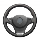 MEWANT Custom Black Leather Suede Car Steering Wheel Cover Wrap for BMW X3 E83 2003-2010 X5 E53 2003-2006