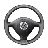 For Volkswagen VW Golf 4 Passat B5 Polo, MEWANT DIY Customized Black PU Carbon Fiber Steering Wheel Cover Protect