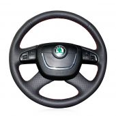 MEWANT Hand Stitch Black Real Genuine Leather PU Leather Car Steering Wheel Cover for Skoda Octavia 2009-2013 / Roomster 2009-2012 /  Fabia 2009-2012 / Superb 2008-2013 /  Yeti 2009-2013