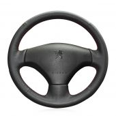 MEWANT Hand Stitch Black Real Genuine Leather PU Leather Car Steering Wheel Cover for Peugeot 206 2007-2009 for Peugeot 207 for Citroen C2